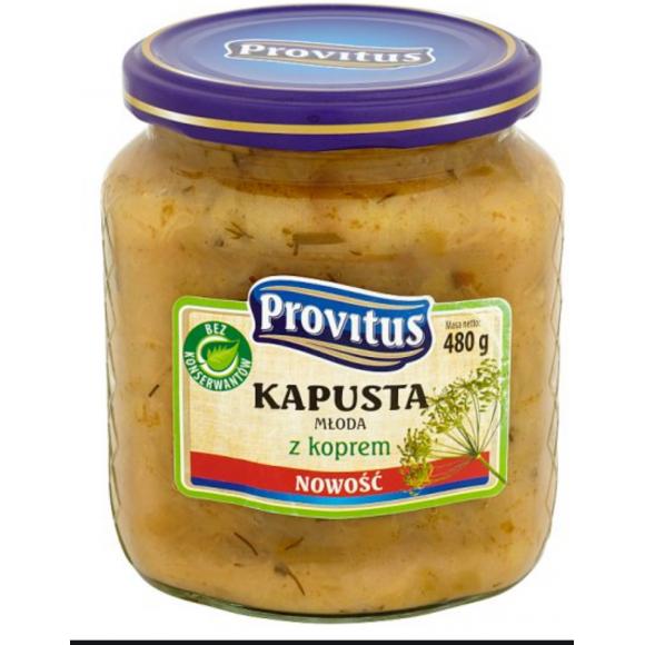 Spring Cabbage with Dill, Kapusta Mloda z Koperkiem 480g Provitus