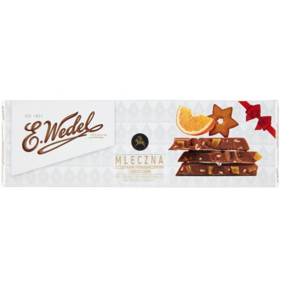 E. Wedel Premium Milk Chocolate with Orange Granules and Speculoos Granulues 200g