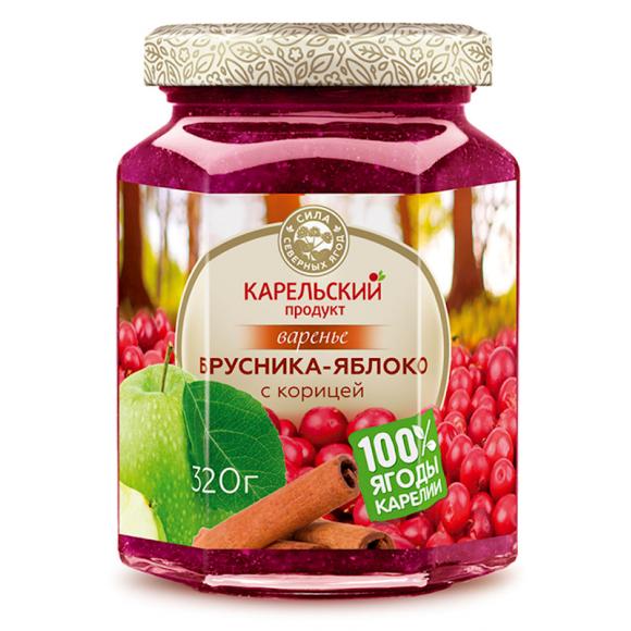 Lingonberry Preserves with Apple and Cinnamon Karelian Product Kosher/Halal 320g