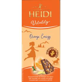 Orange Energy, Milk Chocolate with orange and Ginger, Heidi 80g