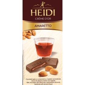 Amaretto, Milk Chocolate with Almonds hazelnuts and Almond Liquer, Heidi 90g