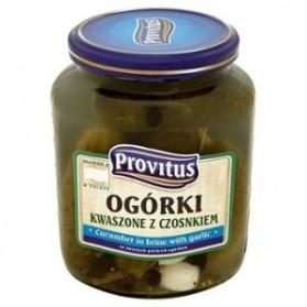 Provitus Cucumber in Brine with Garlic / Ogórki Kiszone z Czosnkiem 640g (W)