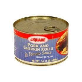 Square Pork and Gherkin rolls in Tomato Sauce 400g/14.11oz